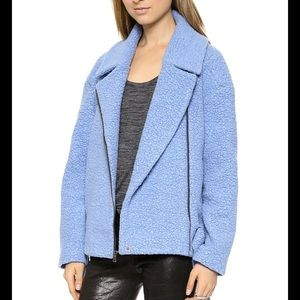 Tibi Blue Oversized Moto Jacket Coat Bloggers Fav